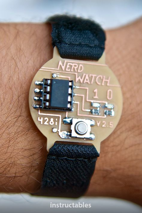 Sam DeRose's nerd watch displays the time in binary when the button is pushed. The watch shows the hour and minutes by flashing two LEDs in sequence to represent two 4-bit binary numbers. #Instructables #electronics #technology #wearable #LED