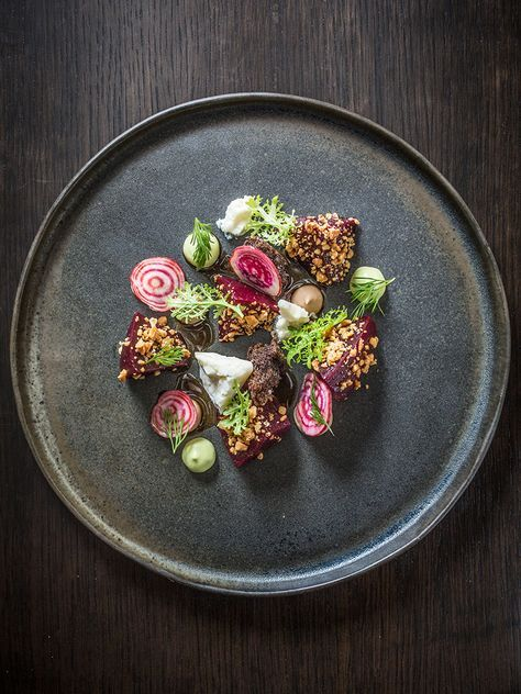Roasted And Shaved Beets With Peanuts Blue Cheese Avocado Mustard Greens And Dill By Chef Lee Wolen Of Boka C G Food Plating Food Design Food Presentation