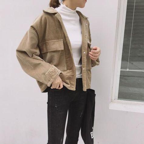 VSCO Girl Corduroy Solid Simple Jacket - Khaki / One Size