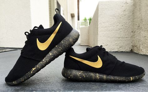 huge discount 100b5 716bc Womens and Mens Custom Nike Roshe Black and Gold by CustomSneakz