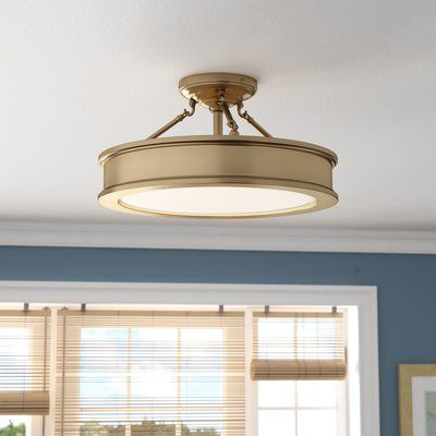 Beachcrest Home Bowers 3 Light 19 Shaded Drum Semi Flush Mount