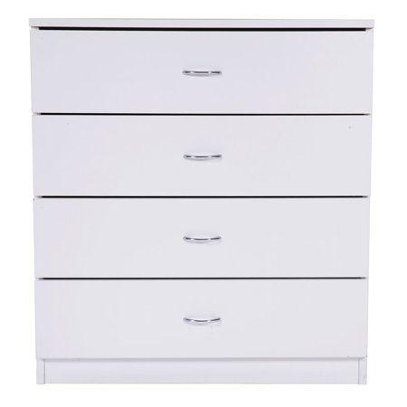 Mdf Wood Simple 4 Drawer Dresser White Walmart Com Storage Furniture Bedroom Dresser Storage Bedroom Storage Cabinets