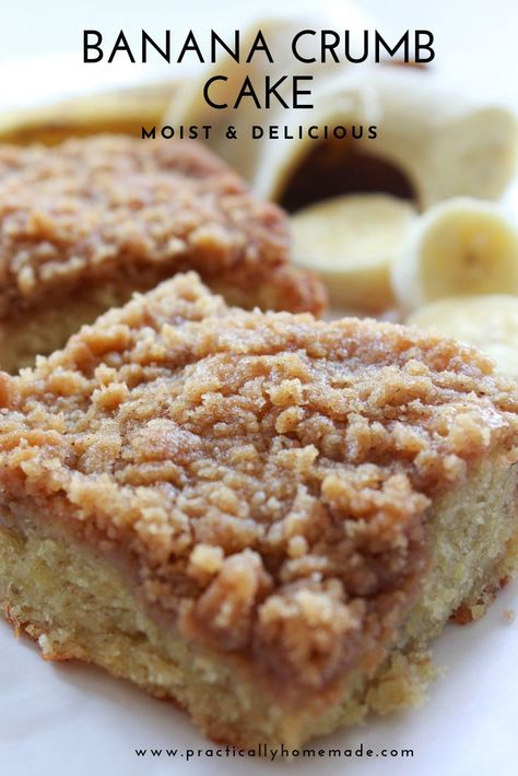 Moist banana cake loaded with sweet crumbs and baked to perfection. Banana Crumb Cake - Moist and flavorful banana cake is topped with a ton of delicious crumb topping. Serve for breakfast or dessert. Banana Crumb Cake, Moist Banana Bread, Banana Bread Brownies, Banana Bread Muffins, Banana Bread With 2 Bananas, Baking With Bananas, Banana Scones, Banana Coffee Cakes, Cinnamon Banana Bread
