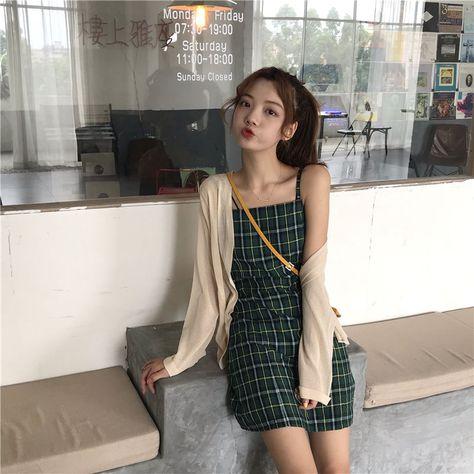 4.98US $ 40% OFF|Summer Hipster Plaid Strap Slim Fit Women Dress Fairy Green Color Sweet Fashion Sleeveless Mini Dress Preppy Suspender Dresses|Dresses|   - AliExpress