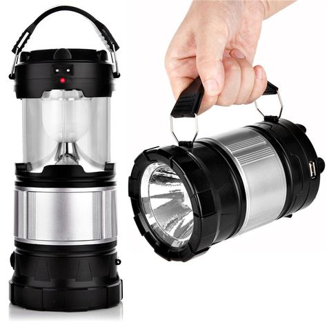 Solar Powered Rechargeable Led Camping Lantern Usb Recharging Outdoor Hanging Tent Light Battery Led Collapsible Bulb Lamp Led Camping Lantern Lantern Flashlight Solar Camping