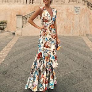 Fashion V Collar Floral Printed Maxi Dress Vestidos Estampados De Fiesta Vestido Largo Invitada Boda Vestidos Largos Para Boda