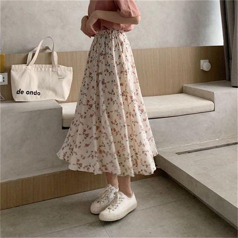 Vintage Floral Print A-line Pleated Long Skirts Summer Women Korean Skirt Streetwear Drawstring Elastic Waist Midi Skirt