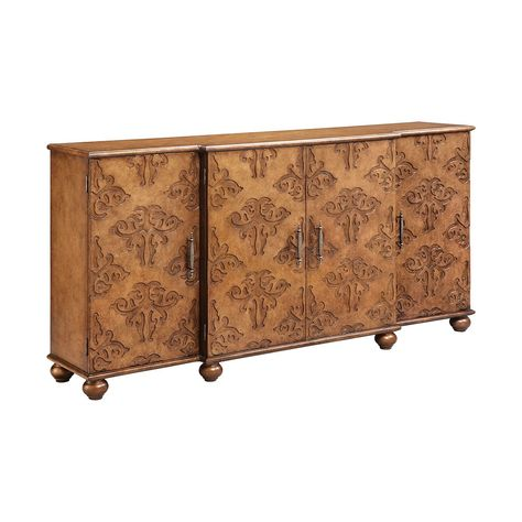 Four Door Sideboard With Three Adjustable Shelves And Wire Management On Back Panel Hand Painted Golden Honey Finish Furniture Stein World Furniture Clearance