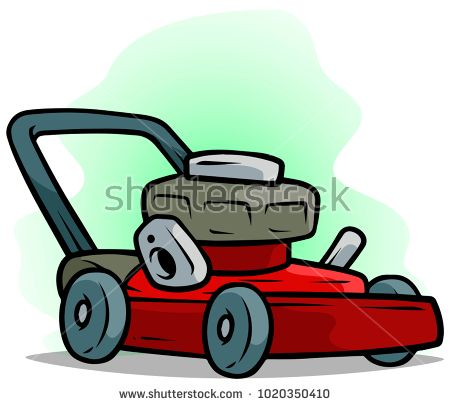 Cartoon Red Lawn Mower On Green Background Vector Icon Lawn Mower Mower Green Backgrounds