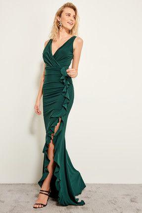 Trendyolmilla Zumrut Yesili Volan Detayli Abiye Elbise Green The Dress Elbise Aksamustu Giysileri