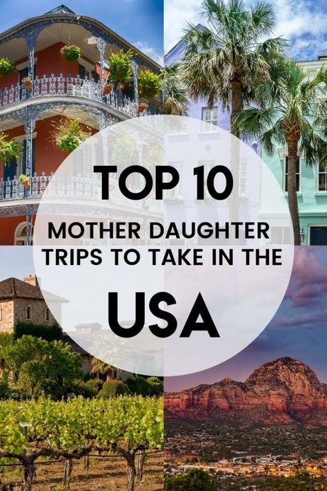 Looking for the best ideas for mother daughter trips in the USA? Here are 10 fun trips that will make the perfect mother daughter getaway! Vacation Trips, Vacation Spots, Vacation Ideas, Girls' Trips, Disney Vacations, Family Vacation Destinations, Family Vacations, Travel Destinations, Mother Daughter Dates