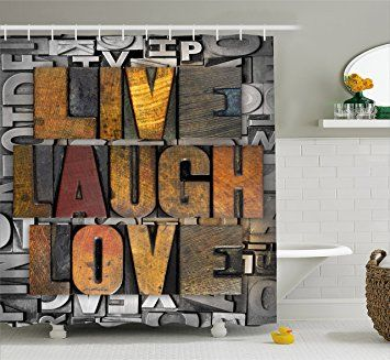 Live Laugh Love Shower Curtain By Ambesonne Saying Promoting The Sacred Values Of Human Lif Elegant Shower Curtains Cool Shower Curtains Unique Shower Curtain 75 inch long shower curtain