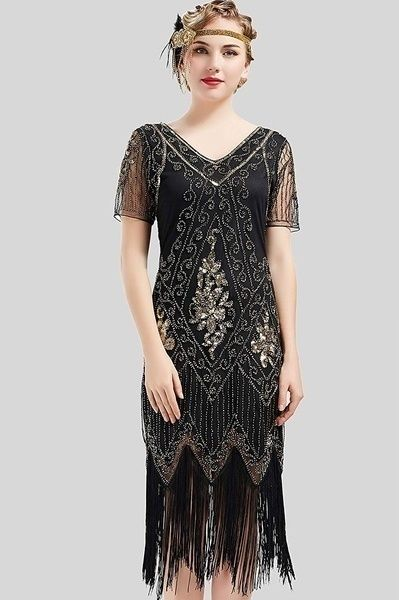 Women Gatsby Flapper 1920s Beaded Vintage Lace Sequins Party Dress Evening Xmas