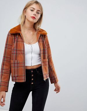 Style plaid Park jacket in fur faux collar zip with vintage Emory vzRgcZc