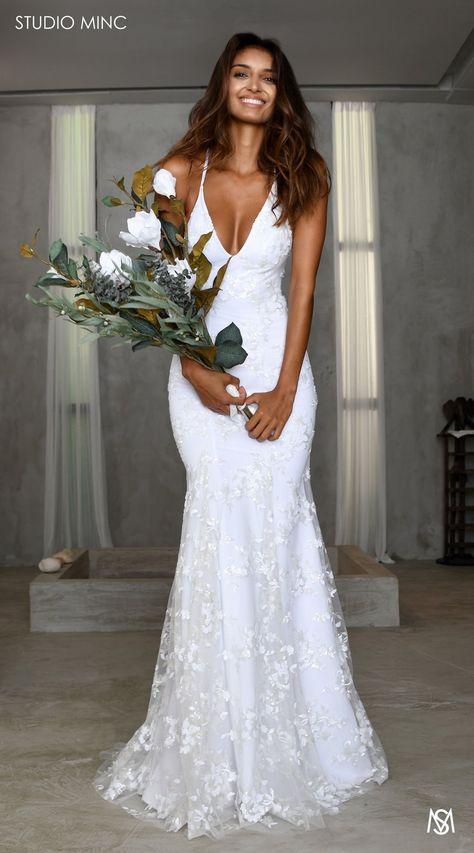 White J'adore – STUDIO MINC - Floral sequin net backless fishtail with train. Feminine Bridal & Wedding dress
