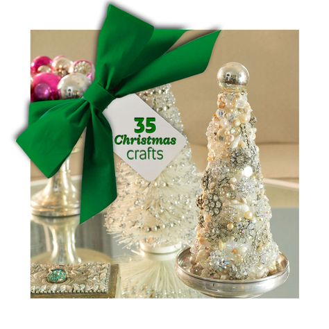 Great Christmas crafts, including this sparkly tree made from recycled jewelry: http://www.midwestliving.com/holidays/christmas/easy-christmas-crafts/