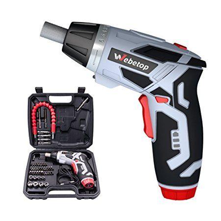 Webetop Cordless Drill Driver 3 6 Volt 2000mah Max Torque 6 Position Rechargeable 46 Screwdriver Bits In Case Usb Charging Fo Drill Driver Cordless Drill Drill