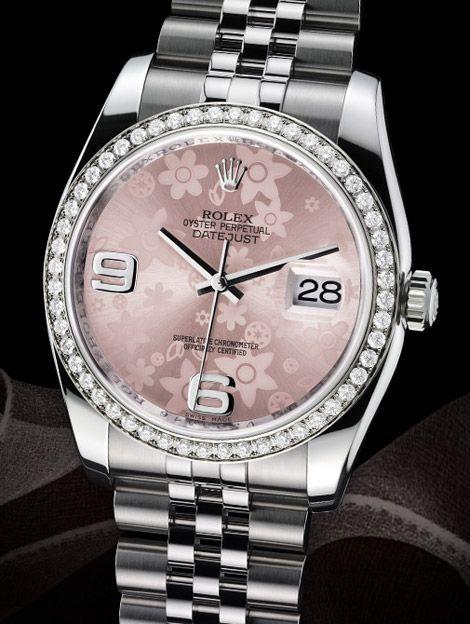 Women's Rolex DateJust pink floral motif in steel. 52 bezel set diamonds s. - My Style - Watches