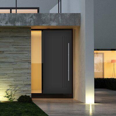 Dusco Doors Alania Prefinished Steel Prehung Front Entry Doors Finish Black Door Size 80 H In 2020 Modern Exterior Doors Modern Entrance Door Brick Exterior House