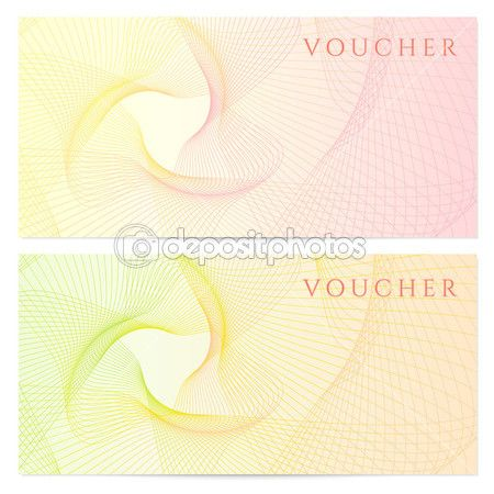 Gift certificate, Voucher, Coupon template with blue guilloche - money note template