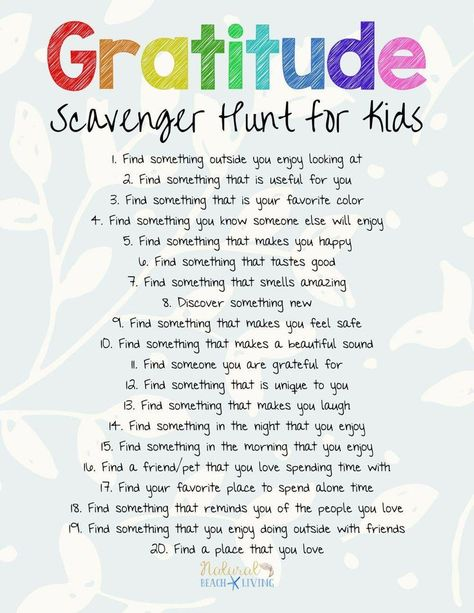 The Best Gratitude Scavenger Hunt for Kids and Adults - Natural Beach Living