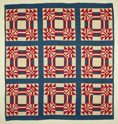 """1910 red, white and blue quilt at Nebraska History.  Young Man's Fancy (Bachelor's Puzzle) 82 x 76""""."""