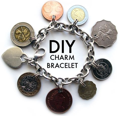 DIY Charm Bracelet, made with coins from places visited