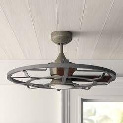 26 Mirelle 3 Blade Outdoor Ceiling Fan With Remote Reviews Joss Main In 2020 Rustic Ceiling Fan Outdoor Ceiling Fans Caged Ceiling Fan