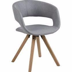 Carryhome Stuhl Webstoff Grau Holz Kautschukholz Massiv 53x7