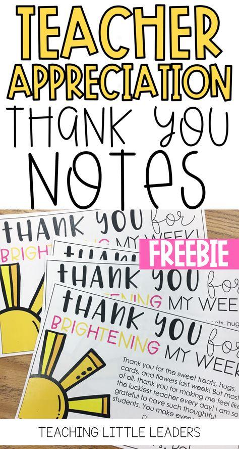 teacher appreciation thank you notes freebie thank you pinterest