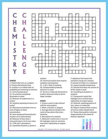 image regarding Crossword Puzzles for High School Students Printable identify Chemistry Puzzle Offer - PRINTABLE PDF fjlkg Chemistry