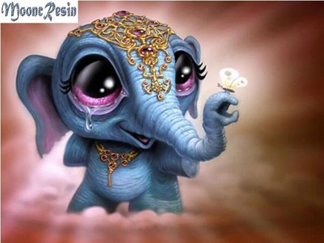 3D DIY Diamond painting craft kit.  Cartoon Big Eye Blue Baby Elephant. Square drill, 7 kit sizes to pick from.