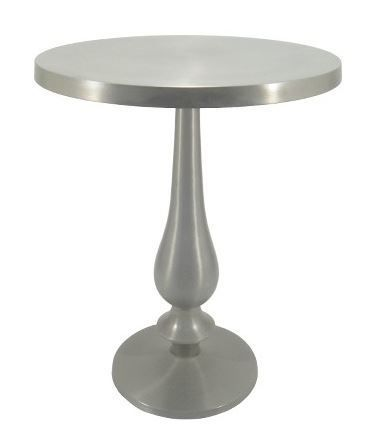 Stack your books high on this stunning silver pedestal table.