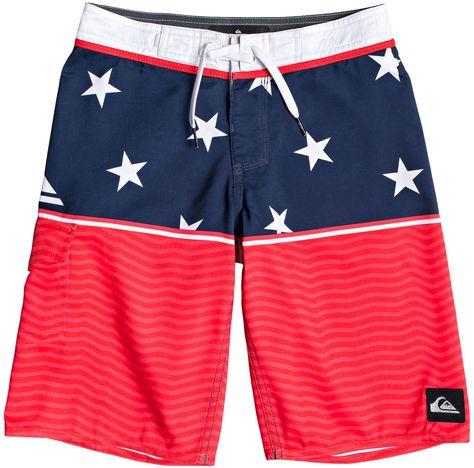 Boys Red White /& Blue Striped Swim Trunks Board Shorts