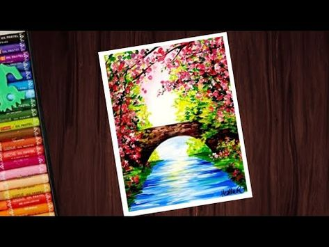 Beautiful Spring Season Scenery Drawing With Oil Pastels For