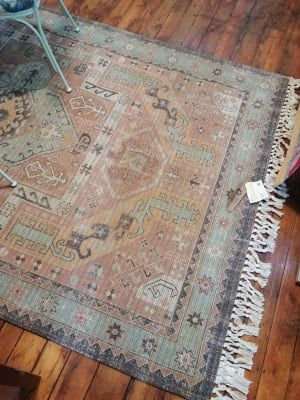 Peach And Green Persian Style Mojave Indoor Outdoor Rug