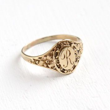Antique Art Deco Monogrammed R 10k Yellow Gold Ring Vintage 1920s Flower Size 4 Etched Initial Signet Cursiv Jewelry Antique Jewelry Art Deco Engagement Ring
