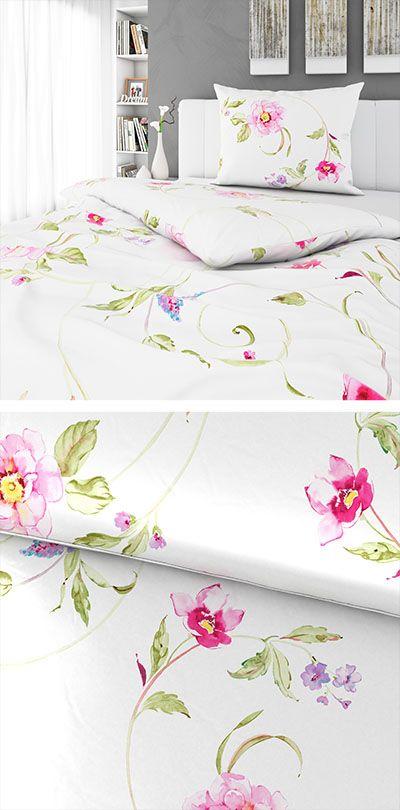Weisse Bettwasche Mit Rosa Floral Muster 140x200 Bettwasche