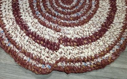 Free Ship Burgundy Cream Rag Rug Round Toothbrush Amish Knotted Bits Of Copper Turquoise Kitchen Entry Bathroom Meditation Rag Rug Rugs Burgundy Rugs
