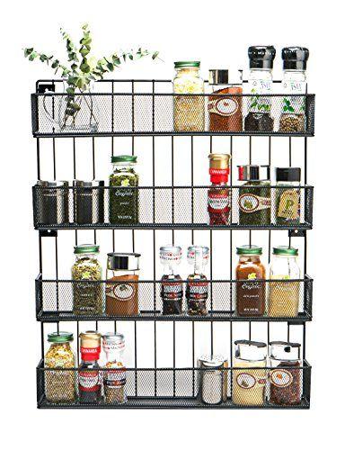 Jackcubedesign Wall Mount Spice Rack 4 Tier Kitchen Count Https