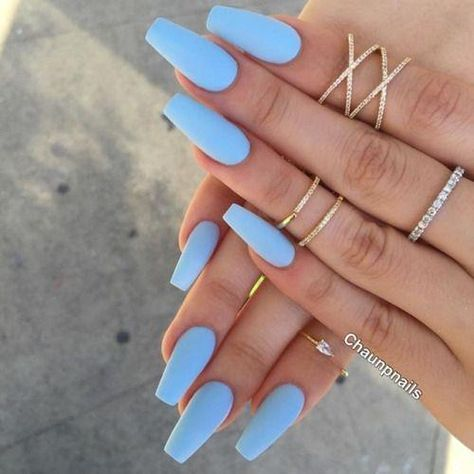 Nail - Matte nails have become super popular in the last year, and these 16 unique matt. - - Matte nails have become super popular in the last year, and these 16 unique matte nail designs will seriously blow you away! nails nail ideas trendy n. Periwinkle Nails, Sky Blue Nails, Blue Acrylic Nails, Blue Matte Nails, Pastel Blue Nails, Pastel Colors, Acrylic Nails For Summer Coffin, Matte Acrylic Nails, Blue Coffin Nails