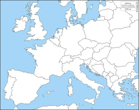 Cartina Europa Fisica Muta.Europa Occidentale Mappa Gratuita Mappa Muta Gratuita
