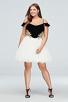 60c2adada52 Applique Cold Shoulder Jersey Mesh Plus Size Dress 158017W