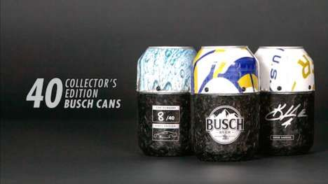 Race Car Beer Cans Nascar Boasts Limited Edition Busch Beer Cans Made Out Of Kevin Harvick S Cars Beer Beer Packaging Beer Can Holder