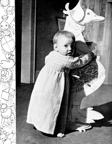 E-book Pattern Vintage 1955s, Easy Knitting & Crocheted Baby Set, Cap and Mittens, English