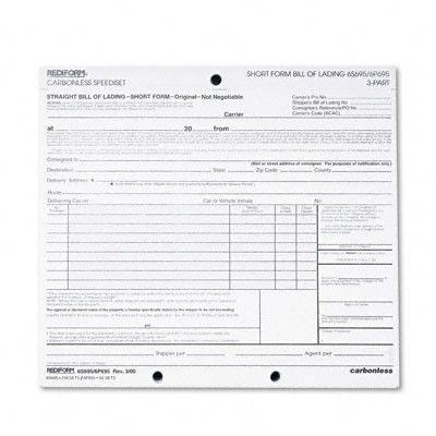 Bill of Lading Short Form, 50 Loose Form Sets Pack Products - printable bill of lading short form