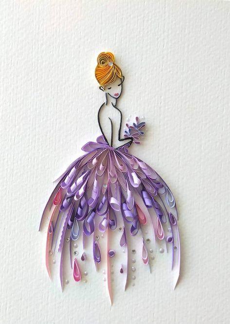 Ball gown purple dress girls room decor, Lady in purple, Quilled dress, Fashion line wall art, 3d ha