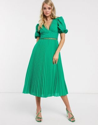 Asos Design Broderie Pleated Midi Tea Dress With Puff Sleeve In Emerald Green In 2020 Tea Dress Puff Sleeve Dresses Dresses