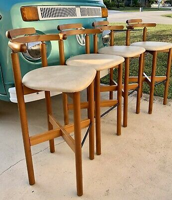 1970 Mid Century Mobelfabrik Danish Bar Stool Teak Wood Chairs