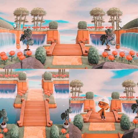 Just finished my island entrance. I love the ~tropical vibes~ it gives off! Animal Crossing 3ds, Animal Crossing Wild World, Animal Crossing Villagers, Animal Crossing Qr Codes Clothes, Animal Games, My Animal, Pokemon Go, Pokemon Fusion, Pokemon Cards